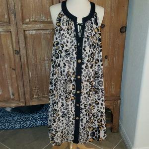 Mlle Gabrielle Plus Size 3X Button Tunic Dress